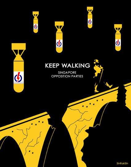 Cartoon: Keep walking, Singapore opposition parties