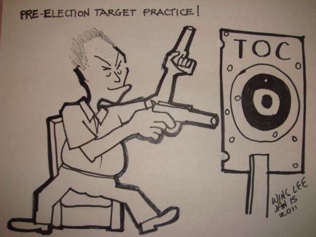 Pre-election target practice (cartoon)