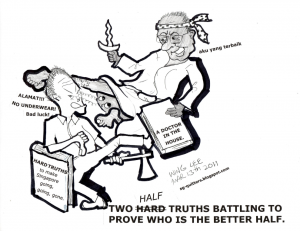 Dr. Mahathir versus MM Lee's HARD TRUTHS (cartoon)