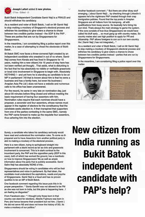 Is Bukit Batok independent candidate sponsored by PAP?