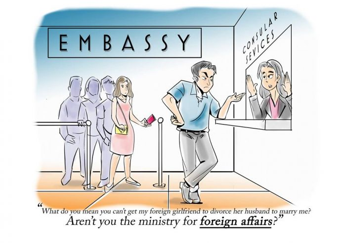 Not satisfied with illegal sexual service in a foreign country? Call MFA?