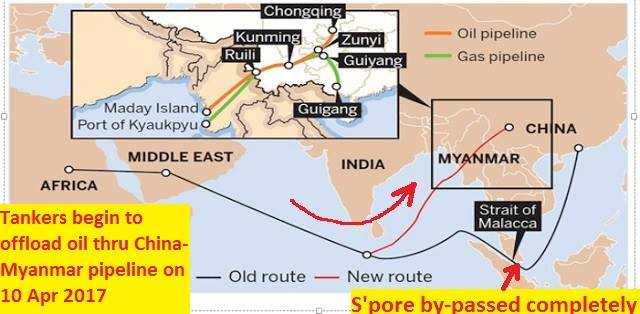 Tankers begin to offload oil through China-Myanmar pipeline by-passing Singapore altogether