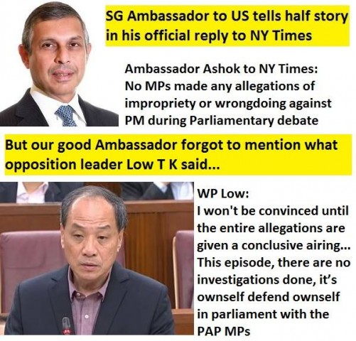 Singapore Ambassador to US tells half story in his official reply to NY Times