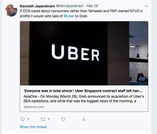 CCS only took an interest in the Uber-Grab merger after...