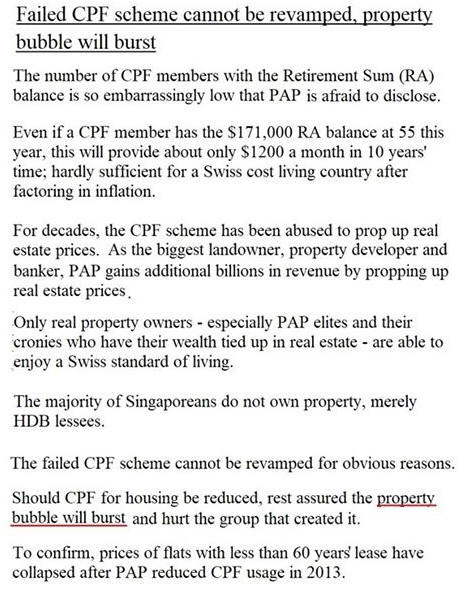 Failed CPF scheme cannot be revamped, property bubble...
