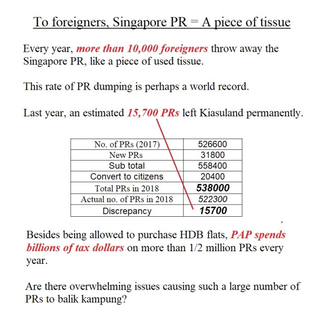 To foreigners, Singapore PR = A piece of tissue