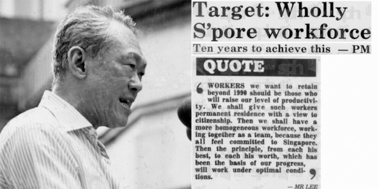 What happened to LKY's wholly Singaporean workforce target by 1991?