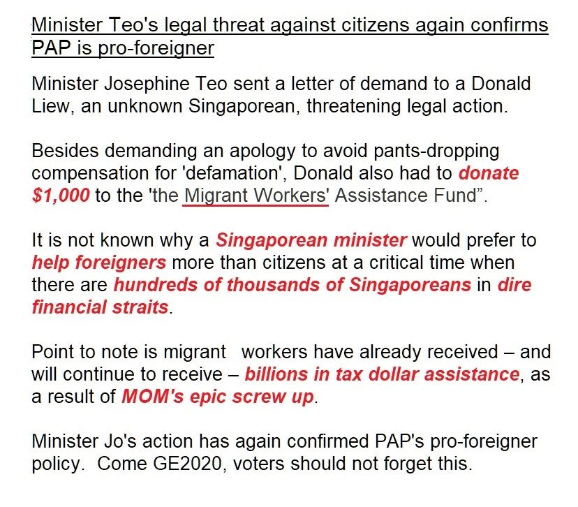 Minister Teo's legal threat against citizens again...