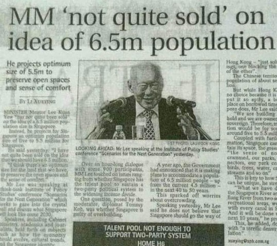 MM Lee 'not quite sold' on idea of 6.5m population for Singapore