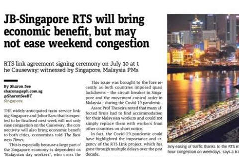 Rapid Transit System between SG and JB will be ready...